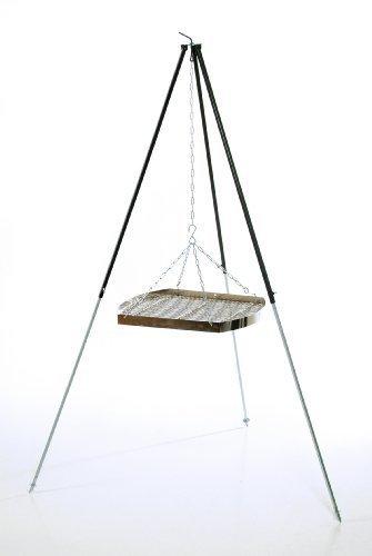 Ungarischer Grillrost (50cm) mit Dreibein (180cm) & Kette ✓ Verchromt ✓ Mit Außenring ✓ Besonders robust | Grillgitter zum Aufhängen am Dreibein | Gitterrost, Grillauflage für Schwenk-Grill (Freistehender Boden-ring)