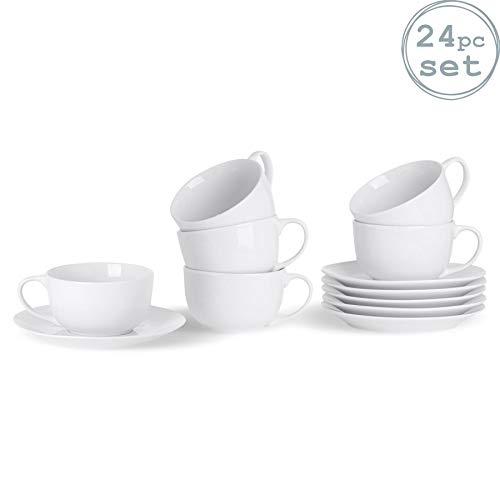 Argon Tableware Ensemble de Tasses à Cappuccino avec soucoupes Assorties Blanches - 200 ML (7 oz) - Lot de 12