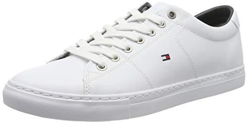 Tommy hilfiger essential leather sneaker, scarpe da ginnastica basse uomo, bianco (white 100), 43 eu