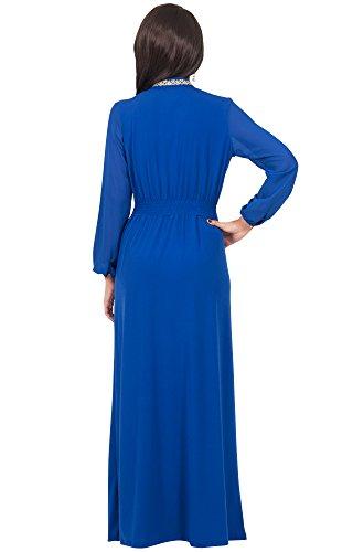 KOH KOH® Damen Langarm Empire Maxikleid Spitze Taille Elegante Abend  Cocktail Dress Kobaltblau