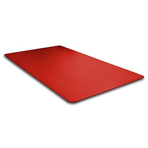 Eglooh - Hermes - Vade, Protector de Escritorio en Cuero Rojo Ferrari, Antideslizante con Esquinas Redondeadas y Costuras Hechas a Mano - cm 90x60 - Hecho en Italia
