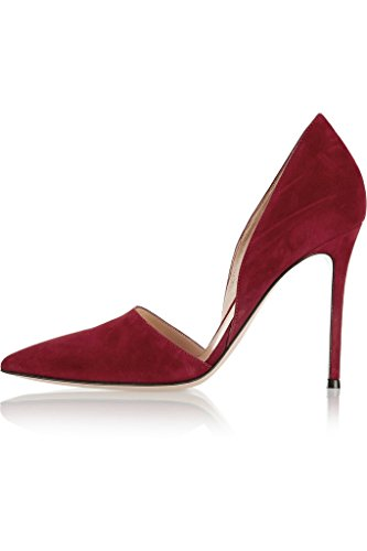 EDEFS Damenschuhe Faschion Handgefertigt D'orsay Beleg auf Schuhen mit hohen Absätzen Dark-rot