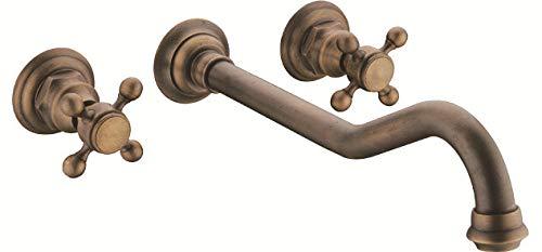 BadezimmerKüchenarmatur Küchenarmaturen, Waschtischarmaturen, Bad- und Kücheninstallationen Kupfer Antik 3 Drei-Loch-Gesicht Waschbecken Becken-Set von gemischten heißen und kalten Wasserhahn SJ8059