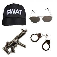 ILOVEFANCYDRESS KAPPE MIT DER AUFSCHRIFT SWAT UND EIN PAAR HANDSCHELLEN & EINE BRILLE UND EINE AUFBLASBARE MASCHINEBNPISTOLE (Swat Kostüm Zubehör)