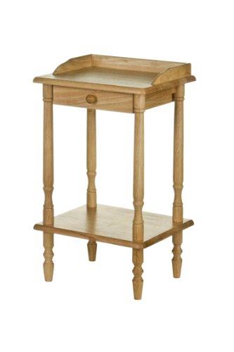 Premier Housewares - Mesa de teléfono rectangular con cajón, madera de caucho, 36 x 29 x 62cm, color marrón