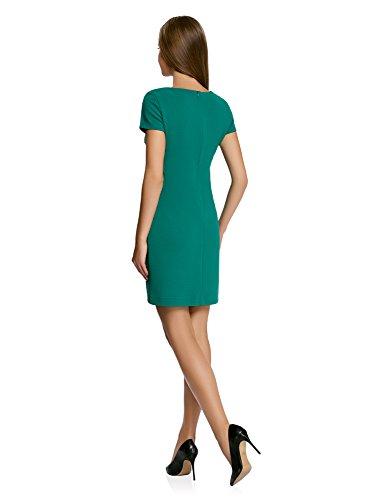 oodji Collection Damen Kleid mit V-Ausschnitt und Reißverschluss Grün (6E00N)