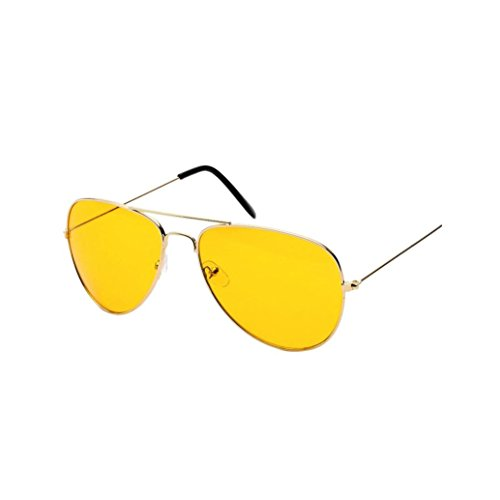 TUDUZ Nachtsicht Flieger Retro Sonnenbrille/Myopie Brillen Lünette für Männer und Frauen UV400 Gläser für Fahrer (Gold-A)