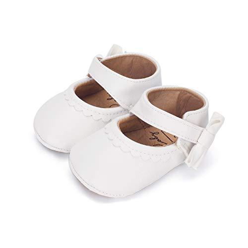 Lacofia Zapatos de Bautizo Antideslizantes Primeros Pasos para bebé niñas con Suela Bailarinas bebé...