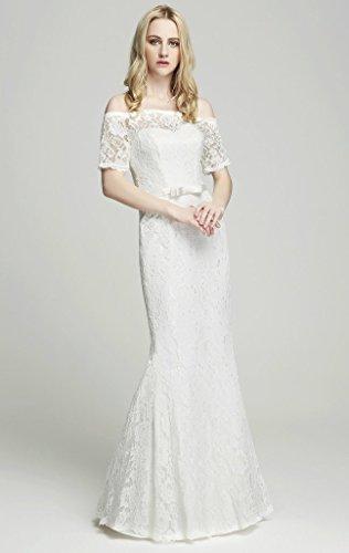 Brautkleid mit Spitze / U-Boot Ausschnitt , Ivory - 4