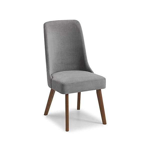 Julian Bowen Huxley Dining Set Julian Bowen Glamourous curved back for added comfort Modern walnut tapered legs Finished in a dusk grey chenille fabric, suitable for a range of décor 4