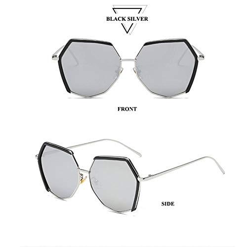 TJJQT Sonnenbrillen Weibliche Polygon große linse Frauen koreanisch polarisierte Sonnenbrille Farbverlauf schneidelinse Metall Brillen