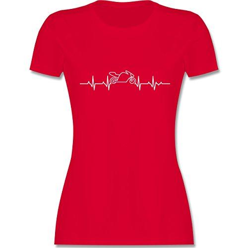 Motorräder - Herzschlag Motorrad - S - Rot - L191 - Damen T-Shirt Rundhals