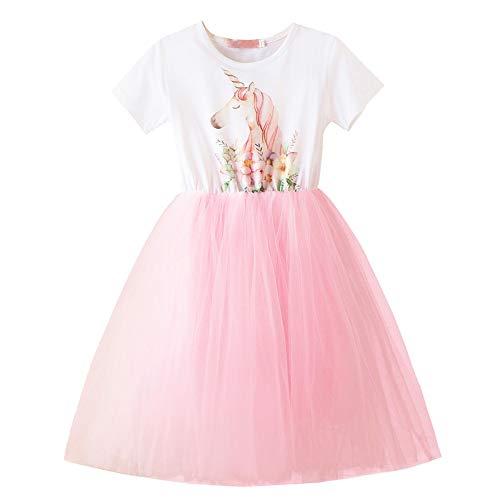 Honglang Einhorn Kostüm Tank Tüll Kleid für Blumen Mädchen Cosplay Party Fasching Prinzessin Geburtstag Kleid Gr. 6-7 Jahre, - Tank Kleinkind Kostüm