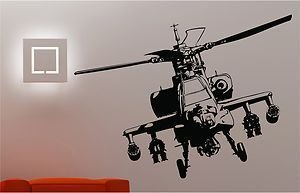 Online Kindliness Army Helicopter Wandtattoo Bedroom Kids Childrens Decal - Schwarz