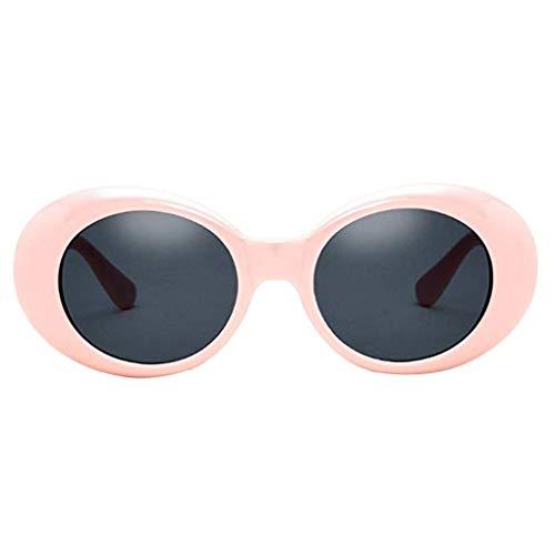 Bomcomi Retro UVbeweis PC ovale Linse Kunststoffrahmen Flexible Universal-Rosa Unisex Erwachsene Sonnenbrille