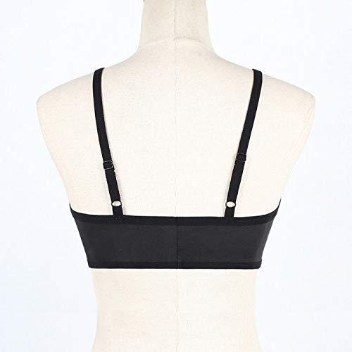 UKKD BHS für Frauen Fashion BHS für Frauen mit Spitze Bralette dünne Träger unten Tube Top einfarbig Dessous Wireless Gr. M, B - 2