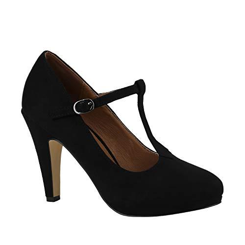 Stiefelparadies Damen Pumps Mary Janes Veloursleder-Optik High Heels Blockabsatz Schwarz T-Strap 39 Flandell