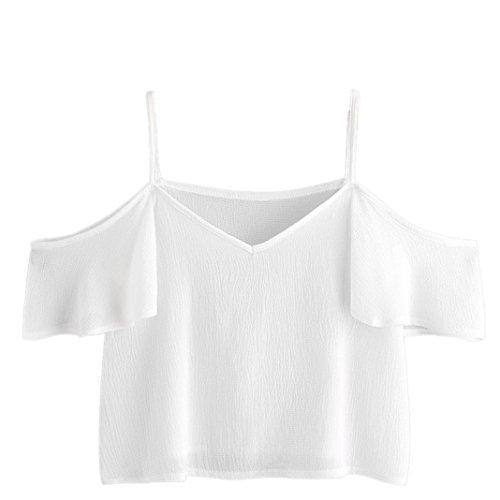 trand Chiffon elegant t shirt Damen Karomuster Trägerlos Weste sommer Büro party band Oberteile Gemütlich Niedlich Tops (XXL, Weiß) ()