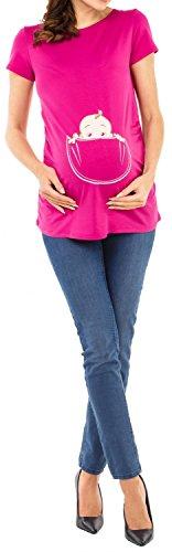 Happy Mama. Damen Baby in der Tasche T-Shirt Top Oberteil für Schwangere. 501p Fuchsie