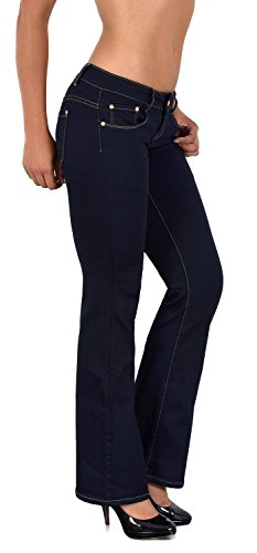 ESRA Damen Jeans Bootcut Jeanshose Hüftjeans Jeans in vielen aktuellen  Designs DD 1a8f9a2460