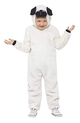 Schäfchen Kostüm - Smiffys 21788L - Kinder Unisex Schäfchen Kostüm, Alter 10-12 Jahre, One Size, weiß/schwarz