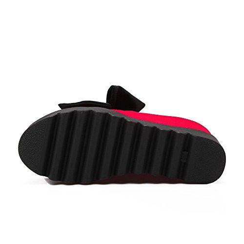 VogueZone009 Femme Tire Suédé Rond à Talon Haut Couleur Unie Chaussures Légeres Rouge