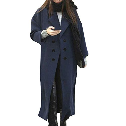 IMJONO Womens Winter Lapel Wool Coat Button Trench Jacket Loose Plus Overcoat Outwear (Small,Marine)