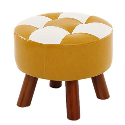 Dyfymx,sgabelli di moda sgabello in legno massello con poggiapiedi in similpelle seduta su pouf mobili (colore : b)
