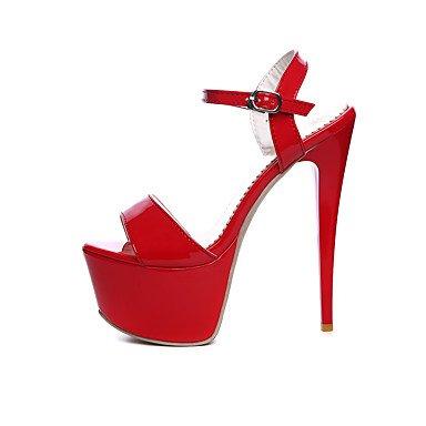 LvYuan Damen-Sandalen-Hochzeit Kleid Party & Festivität-Lackleder-Stöckelabsatz-Komfort-Schwarz Rot Weiß Red