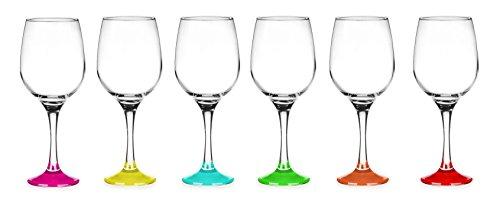 Sendez 6 Weingläser 250ml mit bunten Füßen Weinglas Weißweingläser Rotweingläser Weinkelche