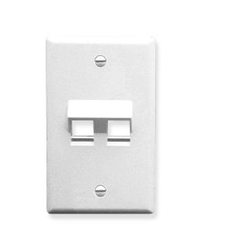 ICC FACEPLATE, ANGLED, 1-GANG, 2-PORT, WHITE (Gang Faceplate)