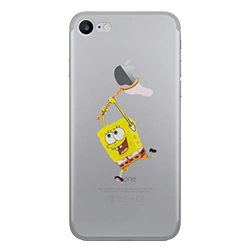 Custodia per iphone 7 / copertura del gel di silicone trasparente per apple iphone 7 con la protezione dello schermo libero & panno / spongebob squarepants