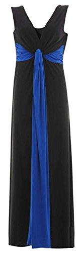New Womens Plus Size Grecian Knot Contrast Color Panel Soft Long Maxi Dress ( Royal Blue , UK 24-26 / EU 52-54 (Plus Kleid Size Grecian)