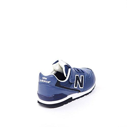 NEW BALANCE - Blauer Sportschuh, aus Leder, mit Klettverschluss, elastische Schnürsenkel, seitlich und hinten ein Logo, sichtbare Nähte und Gummisohle, Jungen Marineblau