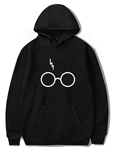 SIMYJOY Fans Hoodie Blitz Narbe Brille Pullover Lässige Coole Pullover Top für Männer Frauen und Jugendliche BK M