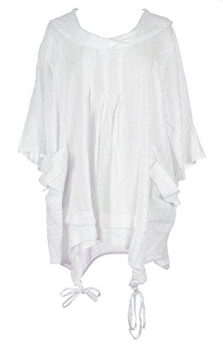 Mesdames Womens italien Lagenlook excentrique superposition manches courtes artistique collier Plain Tunique robe poches précipita une taille Plus UK 12-18 Blanc