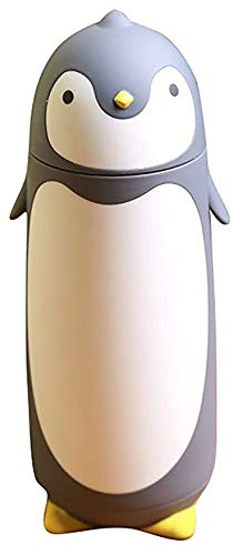 Watooma Simple Modern Wasserflasche Edelstahl-Thermobecher in niedlichem Pinguin-Design 280 ml (Grey) Samba Quick Press