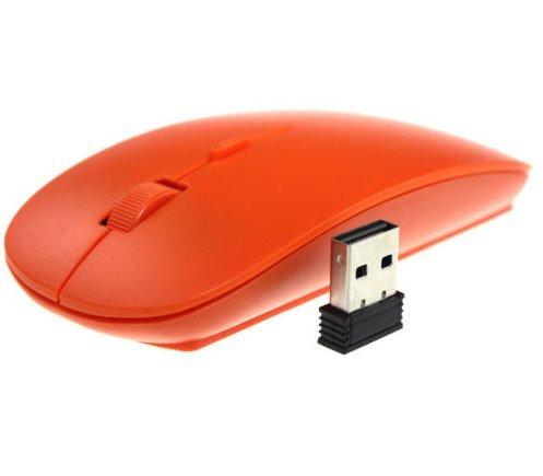 Yiping Funkmaus mit speziellem Design, 2,4 GHz, optisch, kabellos, USB-Maus, für Apple PC/Laptop, Orange