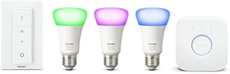 Philips Hue Kit de démarrage 3 ampoules White & Color E27  + pont de connexion + télécommande Hue incluse (New)