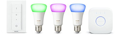 Philips Hue White and Color Ambiance Lampadina LED, E27, 10 W, Starter Kit con 3 Lampadine, 1 Bridge e 1 Telecomando Dimmer Switch