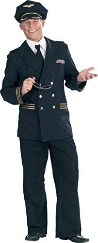 Festartikel Hirschfeld Piloten-Anzug in blau/schwarz | Größe 56 | Piloten-Kostüm ()
