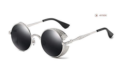 WSKPE Sonnenbrille,Runden Rahmen Abgeschrägten Sonnenbrille Metall Muster Brille Rahmen Schwarz Rahmen Schwarz Objektiv -