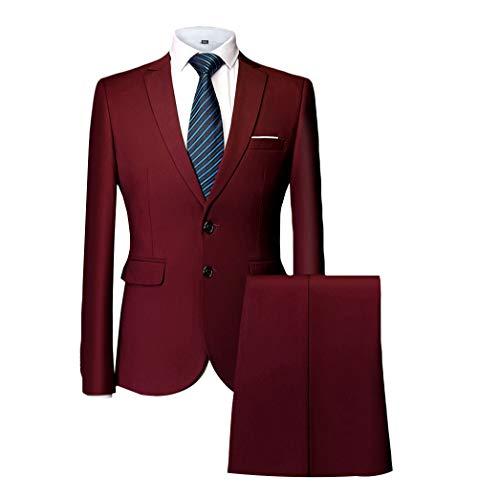 Klassische Kerbe-kragen (MAGE MALE Herren 2-teiliger Anzug Slim Fit Zwei Knöpfe einreihig Business Hochzeit Party Jacke & Hose - Rot - S)