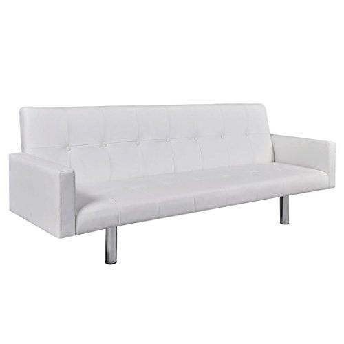 Zora walter - divano letto con braccioli, in legno, colore: bianco divano letto imbottito, in similpelle, dimensioni: 184 x 77,5 x 60,5/64/66,5 cm (l x p x a)