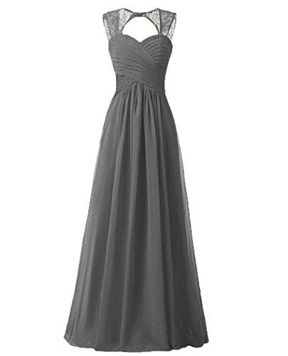 Carnivalprom Damen Chiffon Spitze Brautjungfern kleider Ballkleid Abendkleider lang(Grau,38)