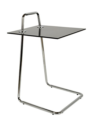 Table d'appoint Table de Chevet de café chromé Plaque de Verre du Cadre de métal Noir Verre ESG 5 mm Table en Verre