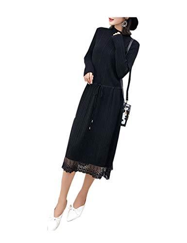 zhxinashu Schwangere Elegante Mutterschaft Stricken Kleid - Frauen Lange Pullover Lose Kleidung(Schwarz) - Stricken Mutterschaft Pullover