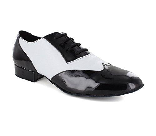 Minitoo da uomo jf251003color block Lace Up PU pelle scarpe da danza latina White
