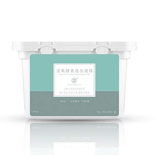 yuyuanDO-DE Wäschekondensatkornwaschmaschine Waschgel Tauwaschen Wäsche duftende Kugel Minzgrün effiziente Wäsche Pod 24 Box (1 PC)