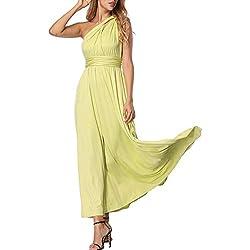FeelinGirl Mujer Vestido de Noche Longitud Máxima Falda Fiesta Cóctel Tirantes Convertibles Multi-Manera Verde Claro L